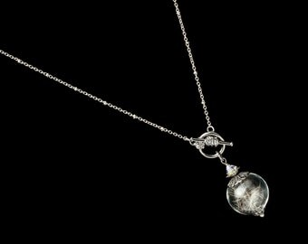 Dandelion Necklace, Wish Necklace with Real Dandelion Seeds in Glass Orb Pendant with Silver Filigree Crystal & Pearl Wedding Jewelry Gift