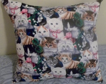"CATS PILLOW (one pillow), Decorative Pillow, 18"" X 18"" - Hand Crafted"