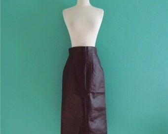 70's ox blood leather skirt // leather pencil knee length skirt ~ small medium