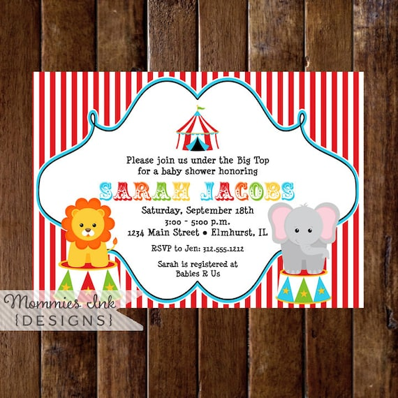 Circus Baby Shower Invitation Big Top Invitation Circus Invitation