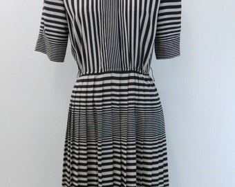 Vintage 60s Dress...Black and Tan Striped Dress...Taupe Striped Dress...3/4 Length Sleeve Secretary Dress...Size Small
