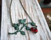 The Cherry Vine Necklace. Verdigris Patina Vine & Cherry Red Glass Pearl Necklace