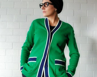 mod kelly green and navy vintage cardigan - 1211009