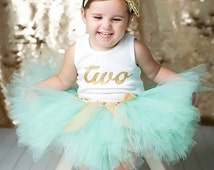 Mint and Gold Birthday Dress Tutu Outfit for Baby Girls, Toddler Girls, 2nd Birthday Dress, 2T, 18 Months, 3T