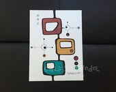pen & marker drawing | colorful art | atomic | mid century modern art | bright | abstract drawing | illustration