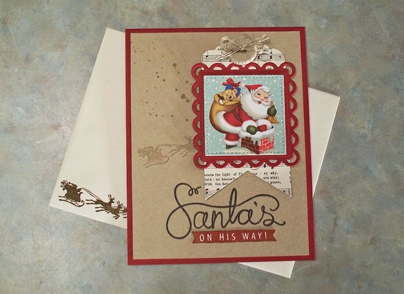 "... Up Cup of Cheer - 5.5"" x 4.25"" - Vintage Style Santa with Sack of Toys"