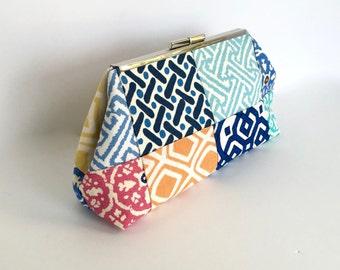 Patchwork clutch, linen clutch, colorful clutch, preppy clutch, resort clutch, in fabrics by Quadrille, Robert Allen and Pindler