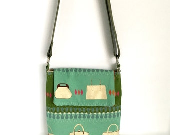"""Crossbody bag in Melody Miller's Ruby Star Polka Dot """"Purses"""", vintage inspired cotton linen fabric, one of a kind"""