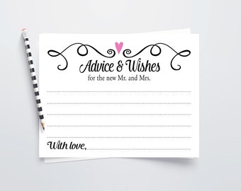 Wedding Advice Cards Printable Wishes Instant Download Guest Book