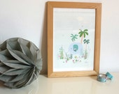 Elephant in the jungle poster - elephant illustration - art print for kids room - size A4