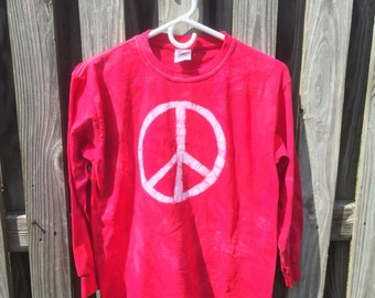 Kids Peace Sign Shirt (Youth XL), Red Peace Sign Shirt, Girls Peace Sign Shirt, Boys Peace Sign Shirt, Red Kids Shirt, Batik Kids Shirt