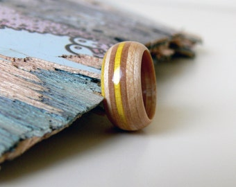 Recycled Skateboard Yellow and Maple Wooden Round Ring - Size 7.5