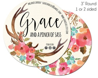 Round Business Cards, Round Social Cards, Grace & Sass, 3 Inch Round Business Cards, Hang Tags, Product Tags, Package Inserts, Circle Card