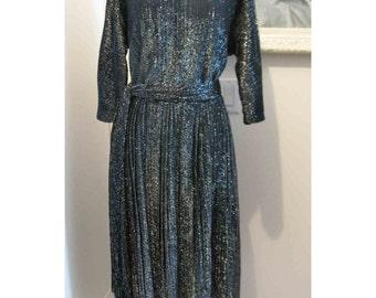 XL Plus Size Vintage Lurex 50's Deco Style Dress - Jacque Heim Pattern