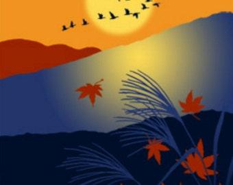 Japanese Tenugui Cotton Fabric, Sunset, Autumn Scenery, Bird, Mountain, Fall Fabric, Hand Dyed Fabric, Modern Art Wall, Home Decor, h473