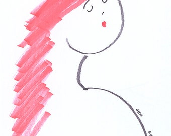 "Minimalist Art-Portrait-Line-Drawing-Giclee Print of Original Illustration-8""x10""-'Cerise'-Redhead Woman Girl-Black White Red-WallArt-Gift"