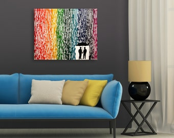 Gay Wedding Gift, Melted Crayon Art, Couple Gift For Boyfriend, Rainbow Painting, Gay Men Art, Silhouette Rain Painting, Wax Painting 16x20