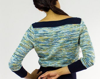 CoCo Ski sweater / Boat neck Soft chenille blue green top - TWELVE collection