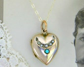 Antique Seed Pearl & Turquoise Crescent Moon Locket Necklace, 9ct Solid Yellow Gold, Puffy Heart Locket, Edwardian Locket, English UK 1900s