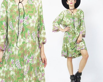 90s Tropical Print Dress Palm Leaf Hawaiian Floral Dress Slouchy Loose Tunic Dress Plus Size Green Short Sleeves Flowy Summer Dress XL E350