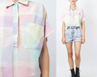 80s Pastel Plaid Shirt Womens Plaid Blouse Short Sleeve Collared Top Jean Vintage 1980s Blouse Crop Top Chest Pocket Cropped Shirt (S/M)