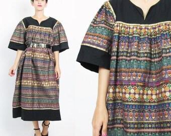 90s Ethnic Striped Dress Floral Striped Print Metallic Gold Painted Black Cotton Caftan Dress Pullover Tent Dress Egyptian Muu Muu (XL)