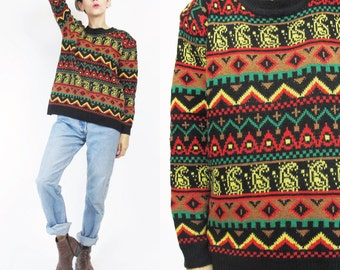 90s Geometric Striped Sweater Pullover Sweater Crew Neck Vintage Womens Jumper Jamaica Colors Red Black Green Triangles African Sweater (S)