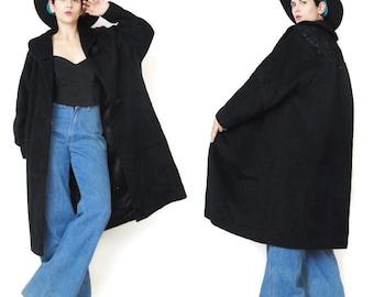 1950s Black Wool Coat 50s 60s Swing Coat Vintage Mad Men Retro Wool Winter Coat Button Up Fancy Beaded Embroidered Shoulders (L)