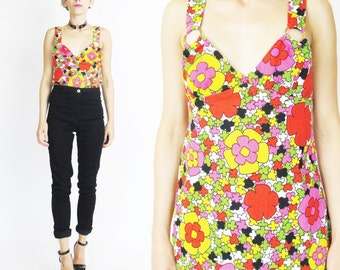 1960s Psychedelic Floral Tank Top Flower Power Print Bright Hippie Tank Top Sleeveless O Ring Go Go Club Kid Criss Cross Back Tank (XS/S)