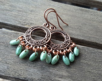 Copper Chandelier Earrings | Small Antiqued Circles with Mint Czech Drops