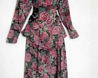 1980s does 1940s dark romantic floral peplum midi dress with sash, m - l