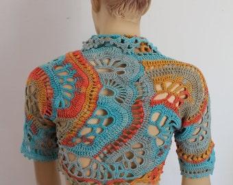 Ready to ship Boho Chic Multicolor Freeform  Crochet  Cotton Shrug Bolero,  cover up , Summer  Fashion - Luxury - Size S-M-L