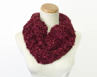 Hand Knit Cowl, Knit Scarf, Cowl, Red Cowl, Burgundy Scarf, Fiber Art, Gift Idea For Her, Fashion Accessory, Bulky Scarf, Circle Scarf,