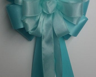 Wedding Pew Bows Light Aqua Wired Ribbon over Aqua Acetate Satin Ribbon Hand Tied