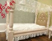 Victorian American Girl Doll Bed with tufted Burlap Headboard / optional bedding dresser and side table