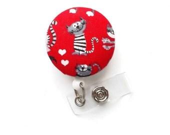 Felix the Cat - Fabric Button Retractable Badge Holder - Male Nurse Badge Reel - Nursing Badge Clip - Vet Badge - Pediatric ID Badge