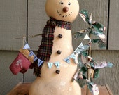 Folk Art Standing Snowman Decoration, Primitive Snowman Shelf Sitter, Rustic Winter And Christmas Home Decor Snowman With Mittens and Tree