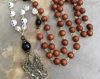 Kali Necklace Skull Jewelry Black Onyx Mala Beads Goddess Jewelry Kali ma Hindu Goddess Priestess Howlite Skulls Day of the Dead Necklace