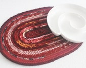 Fabric Coiled Mat / Placemat / Hot Pad / Trivet Bordeaux Oval by PrairieThreads