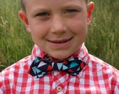 Boy's Bow Tie - Navy Blue Nautical Flags - Pennant Banner - Red Aqua Light Blue White Turquoise - Diamond Point - any size kid's bowtie