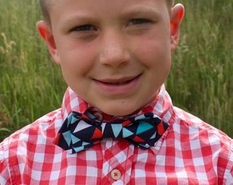 Boy's Bow Tie - Navy Blue Nautical Flags - Pennant Banner - Red Aqua Light Blue White Turquoise - Diamond Point - any size boys bowties