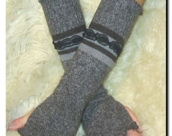 Arm Warmers - Woolen and Angora Grey and Black Striped - Recycled Fibers - OOAK Upcycled