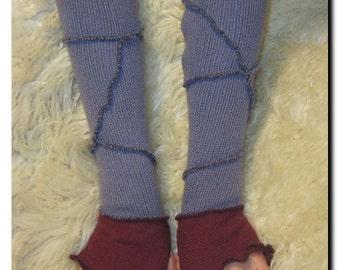 Purple and Burgundy Maroon Merino Wool Angora Cashmere Upcycled Arm Wrist Warmers Fingerless Gloves OOAK