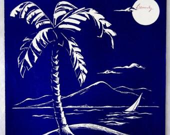 Sheet Music, By a Blue Lagoon, Maxwell Eckstein, Piano Solo Learner, Hawaiian Tropical Palm Trees, 1946
