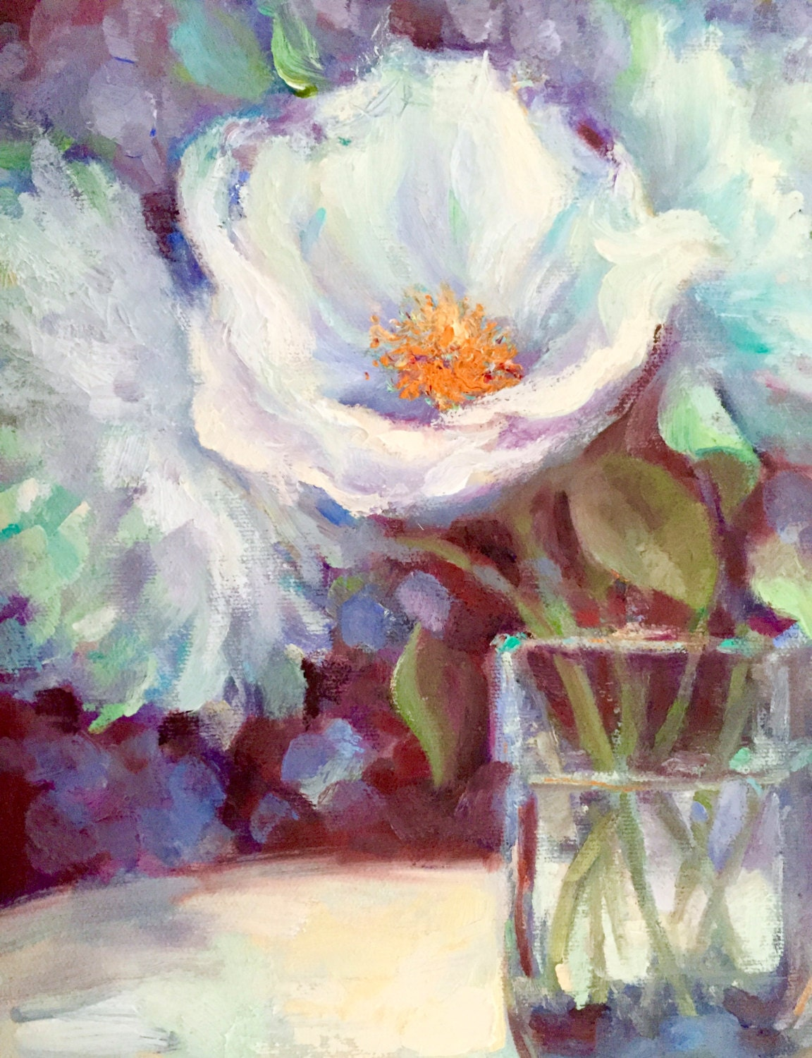 Flower Oil Painting Peony Painting White Spring by TinaWasselKeck