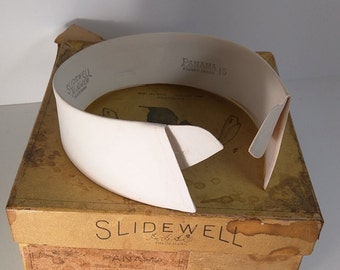 Antique Box of Starched Cotton Detached Collars - 1900's - SLIDEWELL  Sz 15 - 5 Collars