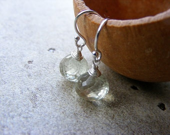 Amethyst earrings, green amethyst sterling silver earrings, petite earrings, prasiolite earrings, February birthstone, dangle earrings