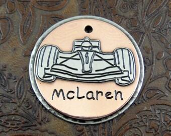 Sports Car-Custom Dog ID Tag-Personalized -Formula One Car Dog ID Tag-Dog Collar Tag-Pet ID Tag