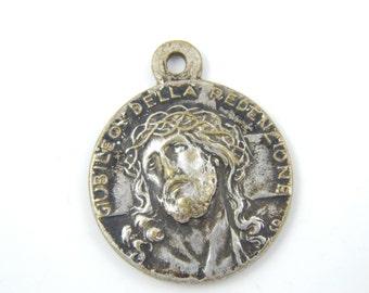 Vintage Jesus Christ - Pope Pius XI Catholic Medal - Religious Charms - Catholic Jewelry X24
