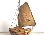 Dutch Shoe Sailboat, Vintage Wood Dutch Shoe With Sailboat As Is